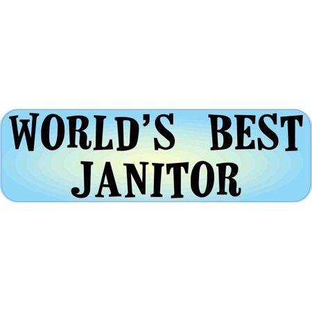 10in x 3in World's Best Janitor Bumper Sticker Truck Window Decal Stickers Car Vinyl