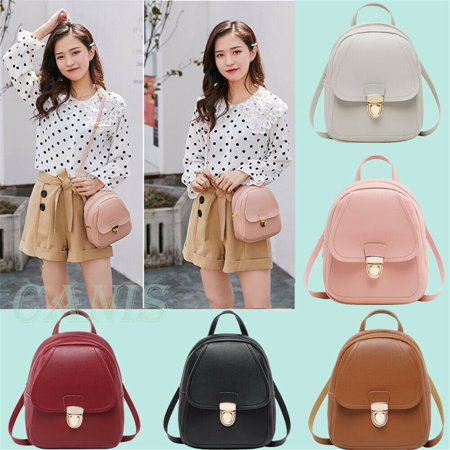 Hot Women Girls Mini Faux Leather Backpack Rucksack School Bag Travel Handbag New Leather Mini Backpack Handbag