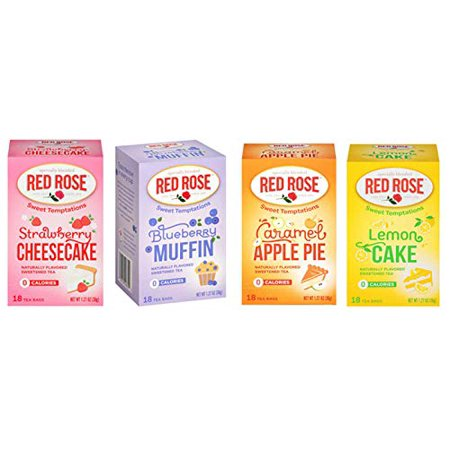 Red Rose Sweet Temptations Herbal Tea 4 Pack Gift Set! Includes Flavors Such As: Strawberry Cheesecake, Lemon Cake, Blueberry Muffin, Caramel Apple Pie! Your Favorite Desserts In A Delicious Drink! Strawberry Shortcake Honey Pie