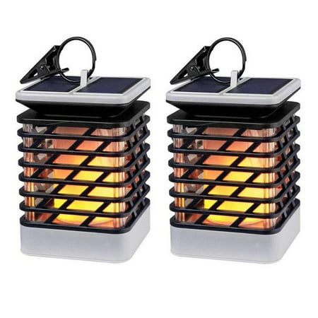 Solar Lights Outdoor LED Flickering Flame Torch Lights Solar Powered Lantern Hanging Decorative Atmosphere Lamp for Pathway Garden Deck Christmas Holiday Party Waterproof Auto On/Off (2/4