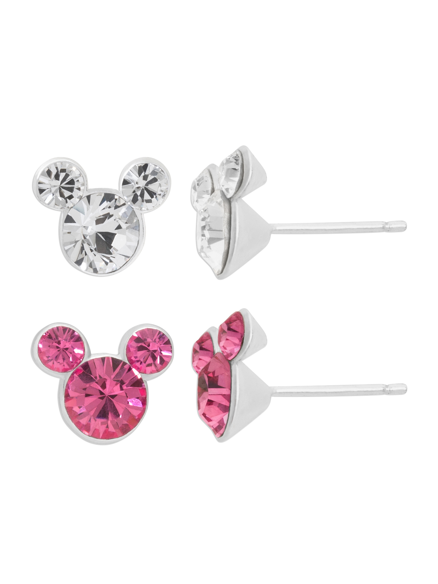 Sterling Silver Pink and Clear Crystal Stud Earrings Set