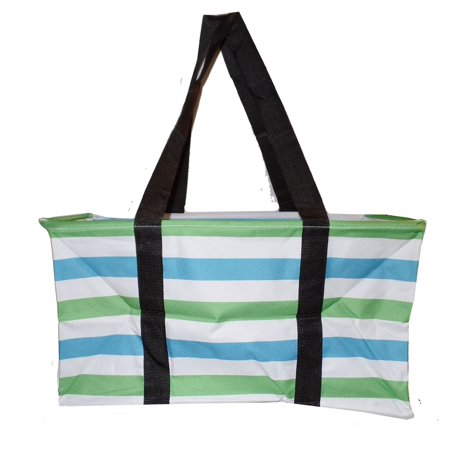 Canvas Ultimate Tote - Carry All Organizer Bag - A Summer Beach Must Have (Green/Turquoise)
