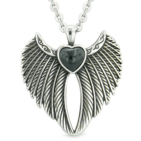 Black Onyx Gemstone Necklace (Angel Wings Magic Heart Protection Powers Amulet Simulated Black Onyx Pendant 18 inch)