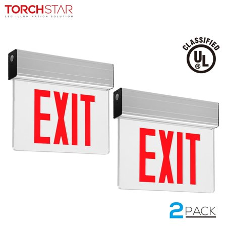 torchstar led exit sign with battery backup, ul-listed emergency lights, ac  120v/277v commercial lighted exit signs, red, pack of 2 - walmart com