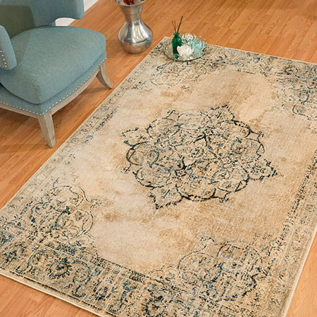 United Weavers Kokomo Opal Distressed Parchment Woven Olefin Polyester Area Rug or Runner