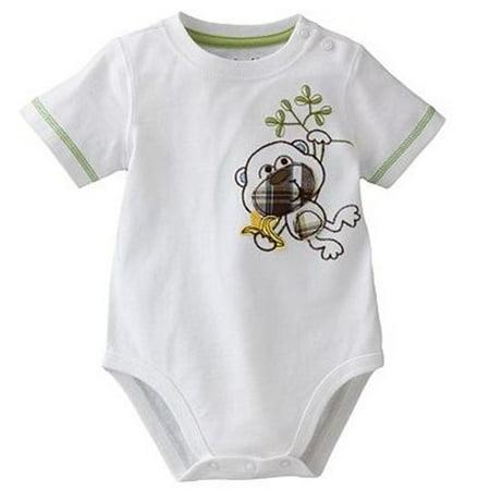 Embroidered Applique Bodysuit - Monkey 6-9 Months, 100% Soft cotton construction keeps him comfy. By Jumping Beans - Embroidered Applique Onesie