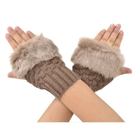 Xcr Womens Mitten - Simplicity Women Fingerless Faux Fur Winter Ladies Snug Hand Mitten Gloves