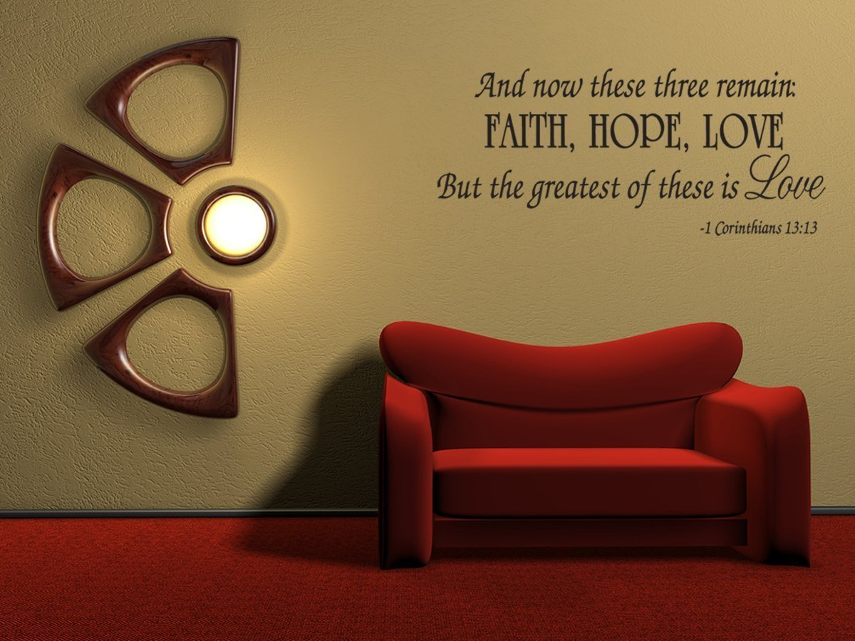 Faith Hope Love Corinthians Wall Quote Decal Scripture Bible Verse Quotes  Vinyl A46   Walmart.com