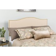 Flash Furniture Lexington Upholstered Full Size Headboard with Decorative Nail Trim in Beige Fabric
