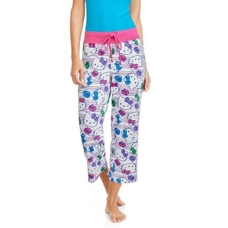 5e56e6d01 Hello Kitty - Women's and Women's Plus License Knit Sleep Capri Pant -  Walmart.com