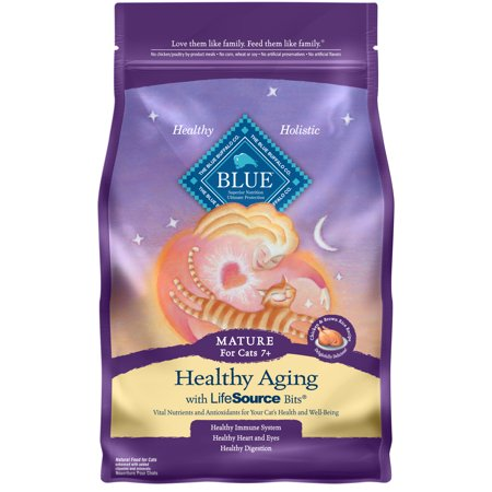 Blue Buffalo Healthy Aging Natural Mature Dry Cat Food, Chicken & Brown Rice, 5-lb ()