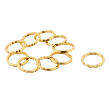 Metal Dual Loop Split Key Ring Keychain Holder Gold Tone 35mm Outside Dia 10pcs - image 1 of 2