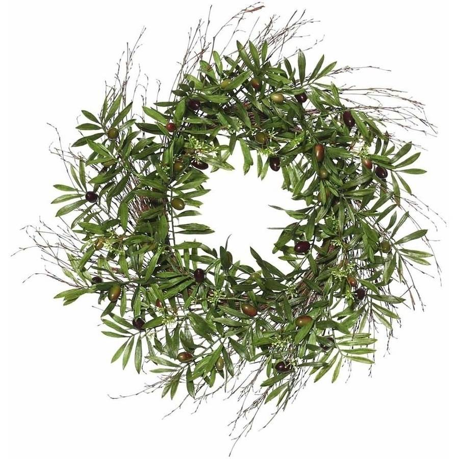 """Vickerman 24"""" Artificial Green Olive Leaf Wreath Featuring 42 Branches with Flowers"""