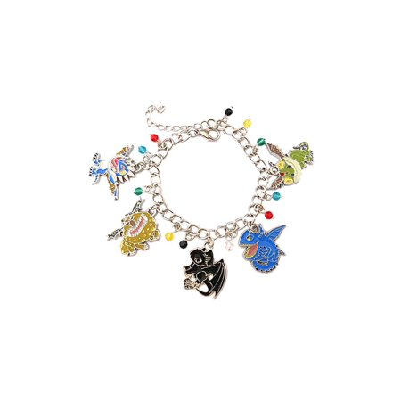 Blue Dragon Dragon Bracelet - How To Train Your Dragon Silver Tone Cartoon Comic Logo Charm Bracelet w/Gift Box by Superheroes