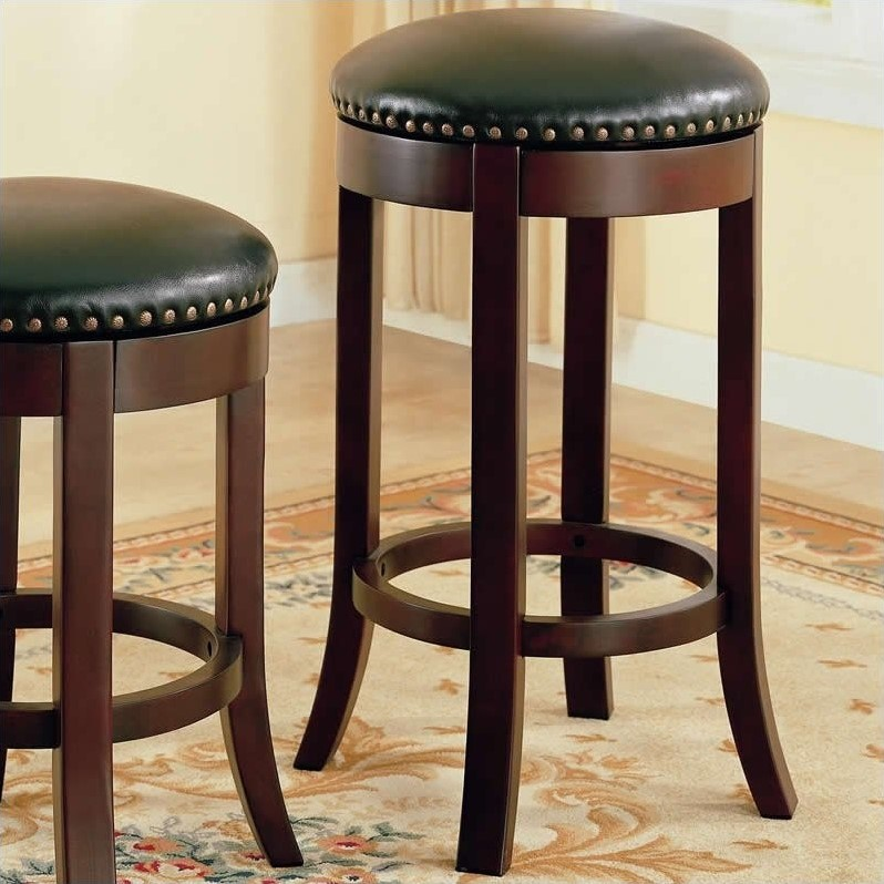 """Coaster 29"""" Swivel Bar Stool in Brown and Black"""