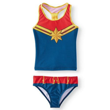 Captain Marvel Cosplay Tankini Swimsuit (Little Girls & Big Girls)