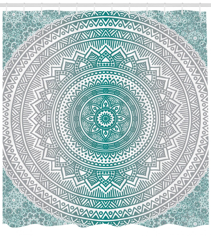 Mandala Shower Curtain Mandala Ombre Design Sacred Space Geometric Center Point Boho Meditation Art Fabric Bathroom Set With Hooks Grey And Teal By Ambesonne Walmart Com Walmart Com