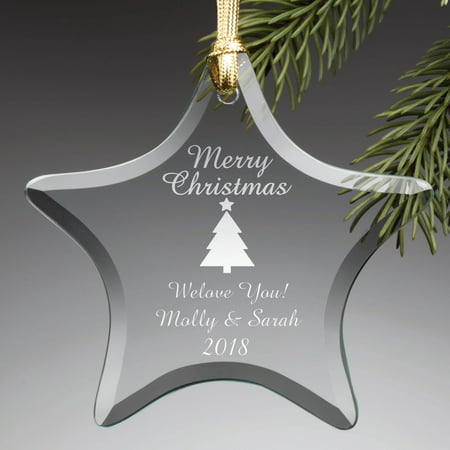 - Personalized Christmas Tree Glass Ornament