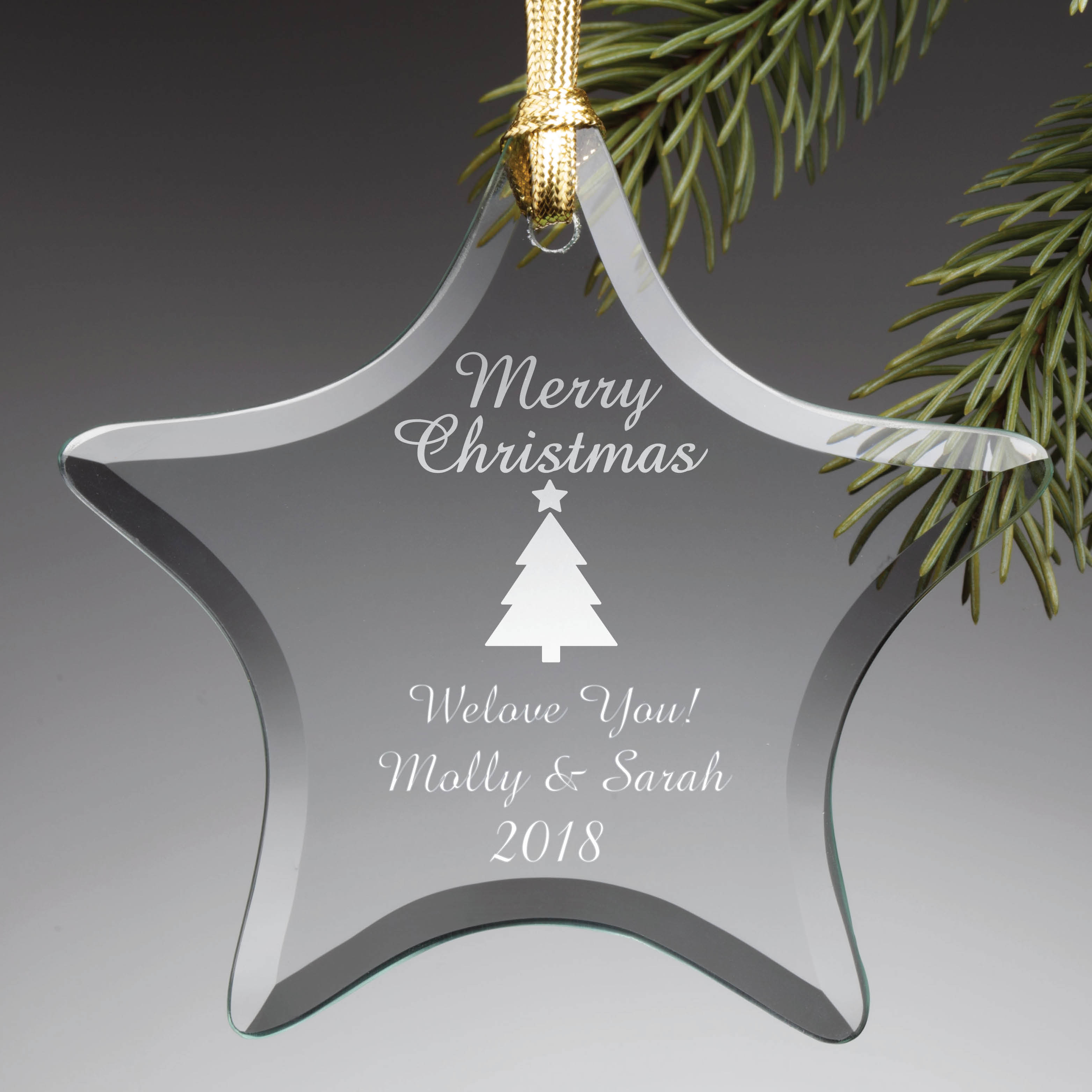 Personalized Christmas Tree Glass Ornament