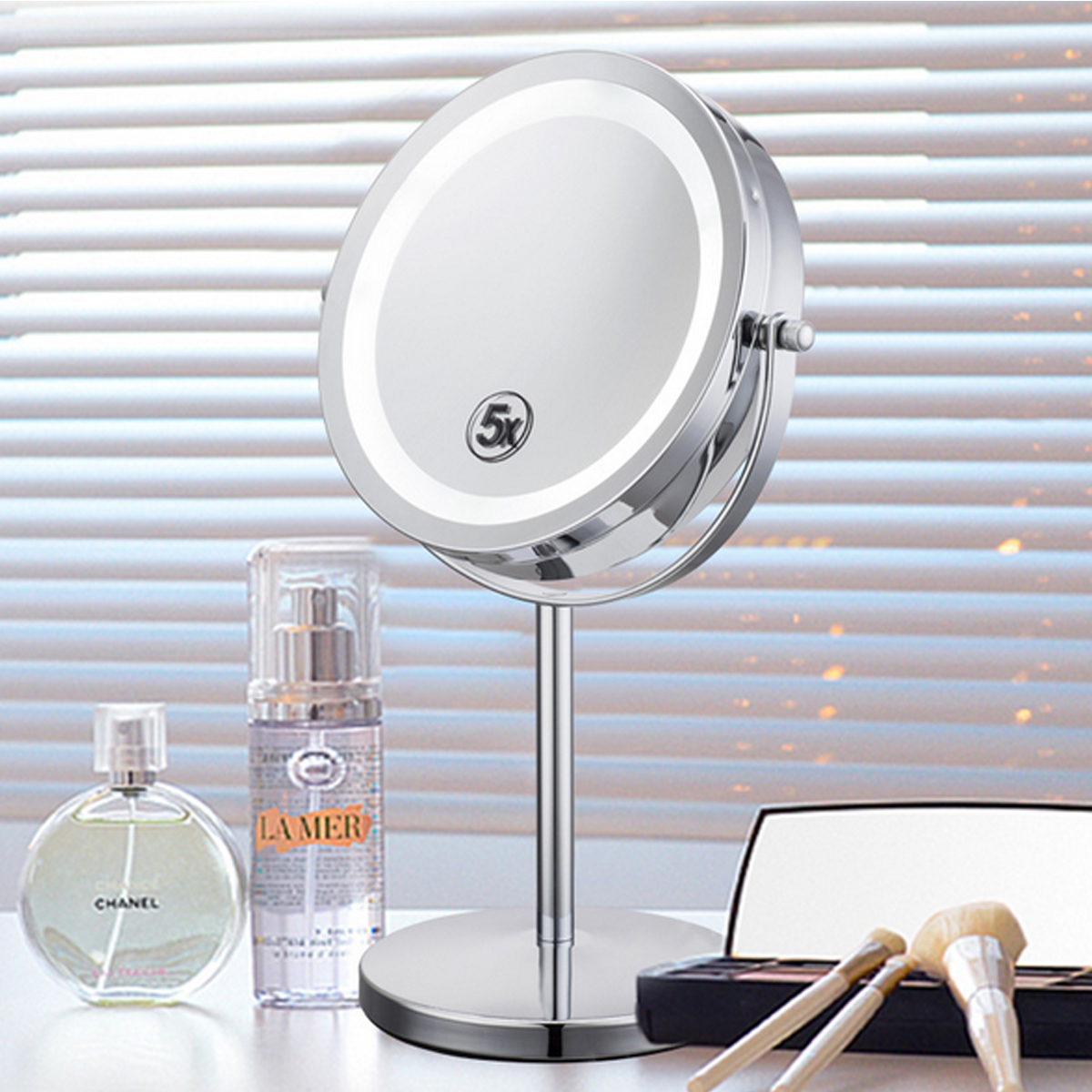 18 LED Lights Makeup Vanity Mirror 5x Magnification Tabletop Cosmetic Mirror by