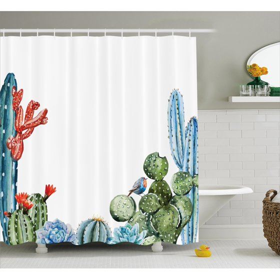 cactus decor shower curtain cactus spikes flowers with birds cartoon vintage like colored. Black Bedroom Furniture Sets. Home Design Ideas