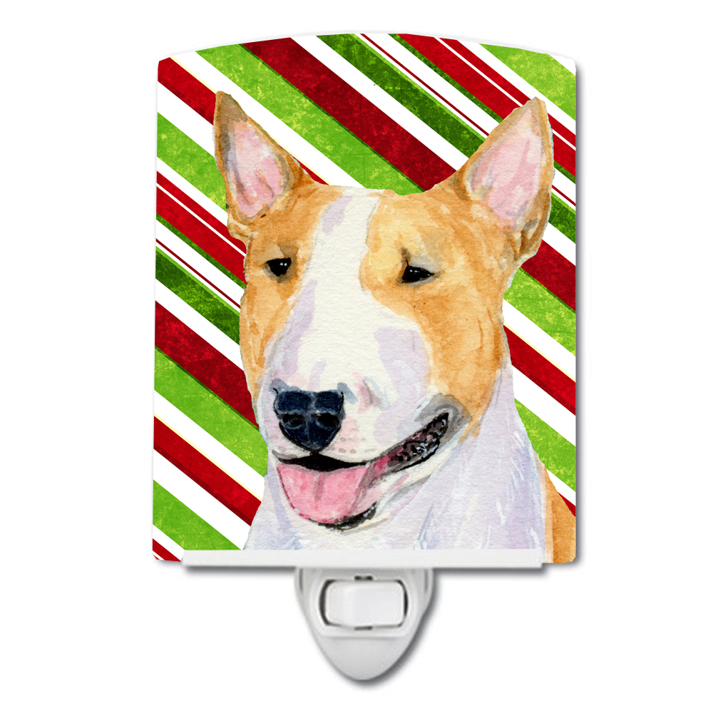 Bull Terrier Candy Cane Holiday Christmas Ceramic Night Light SS4565CNL by Caroline's Treasures