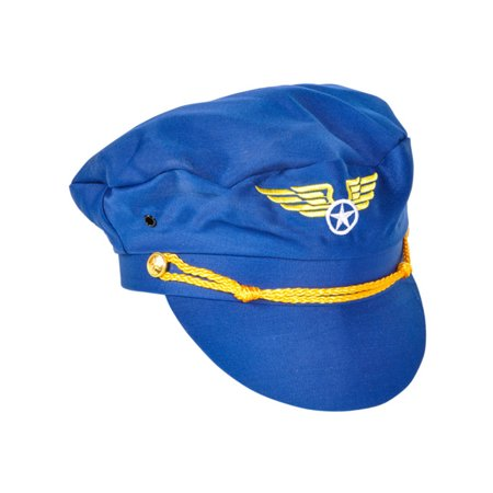 Adult Blue Cloth Pilot Captain Costume Accessory Aviator Hat with Wings Badge