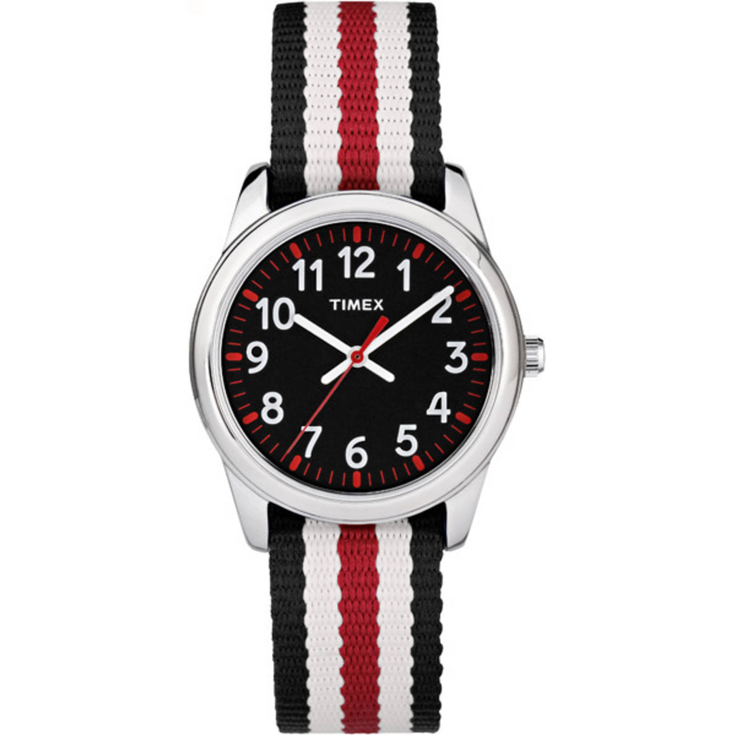 Timex Boys Time Machines Analog Metal Watch, Black/Red Stripes Nylon Strap
