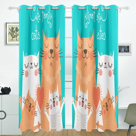 POPCreation Cute Family Cats Window Curtain Blackout Curtains Darkening Thermal Blind Curtain for Bedroom Living Room,2 Panel (52Wx84L Inches) (Windows 7 Family)