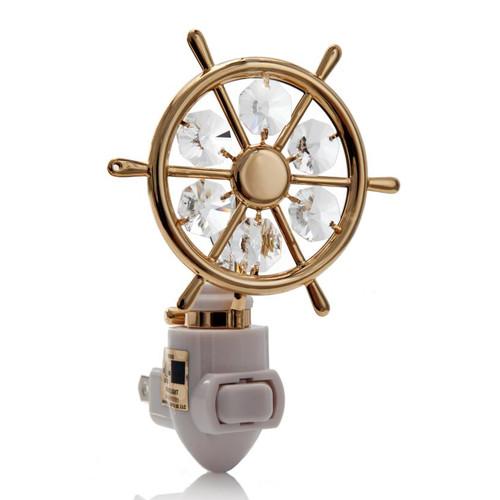 Matashi Crystal 24K Gold Plated Captains Wheel Night Light
