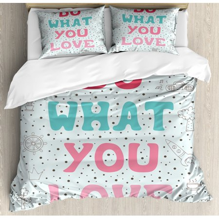 Love What You Do Duvet Cover Set, Retro Style Hand Drawn Doodle Composition with Ice Cream House and Rocket, Decorative Bedding Set with Pillow Shams, Multicolor, by Ambesonne ()