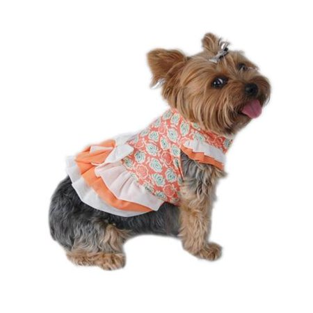 White Orange Flora Printed Dress Pet Clothes Apparel For Dog - Extra Small (Gift for Pet)