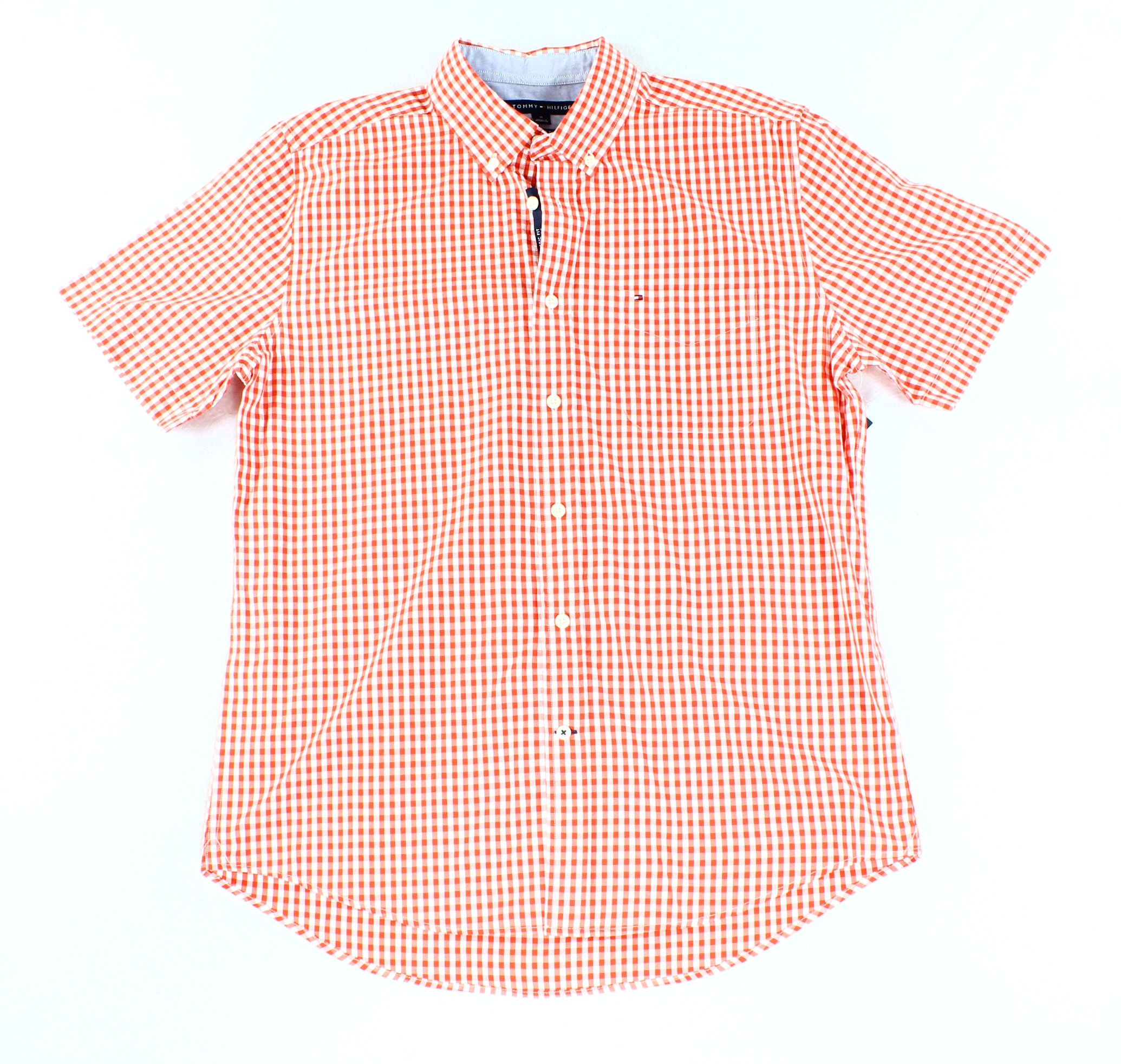 Tommy Hilfiger NEW Fiery Red Mens Size XL Check Button Down Shirt