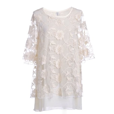 S/M Beige Softly Layered Sheer Floral Embroiderd Overlay Shift Dress Sheer Overlay Dress