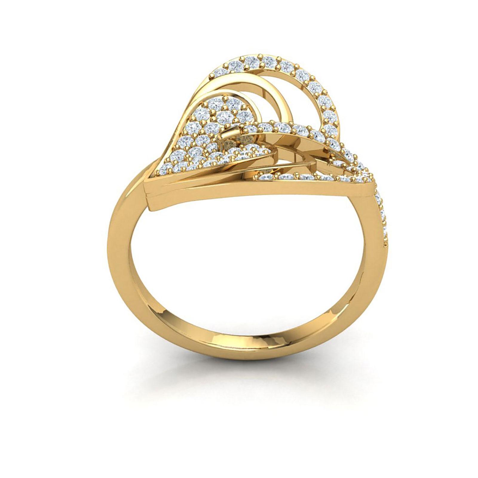 Genuine 1ctw Round Cut Diamond Prong Modern Heart Bridal Fancy Ring