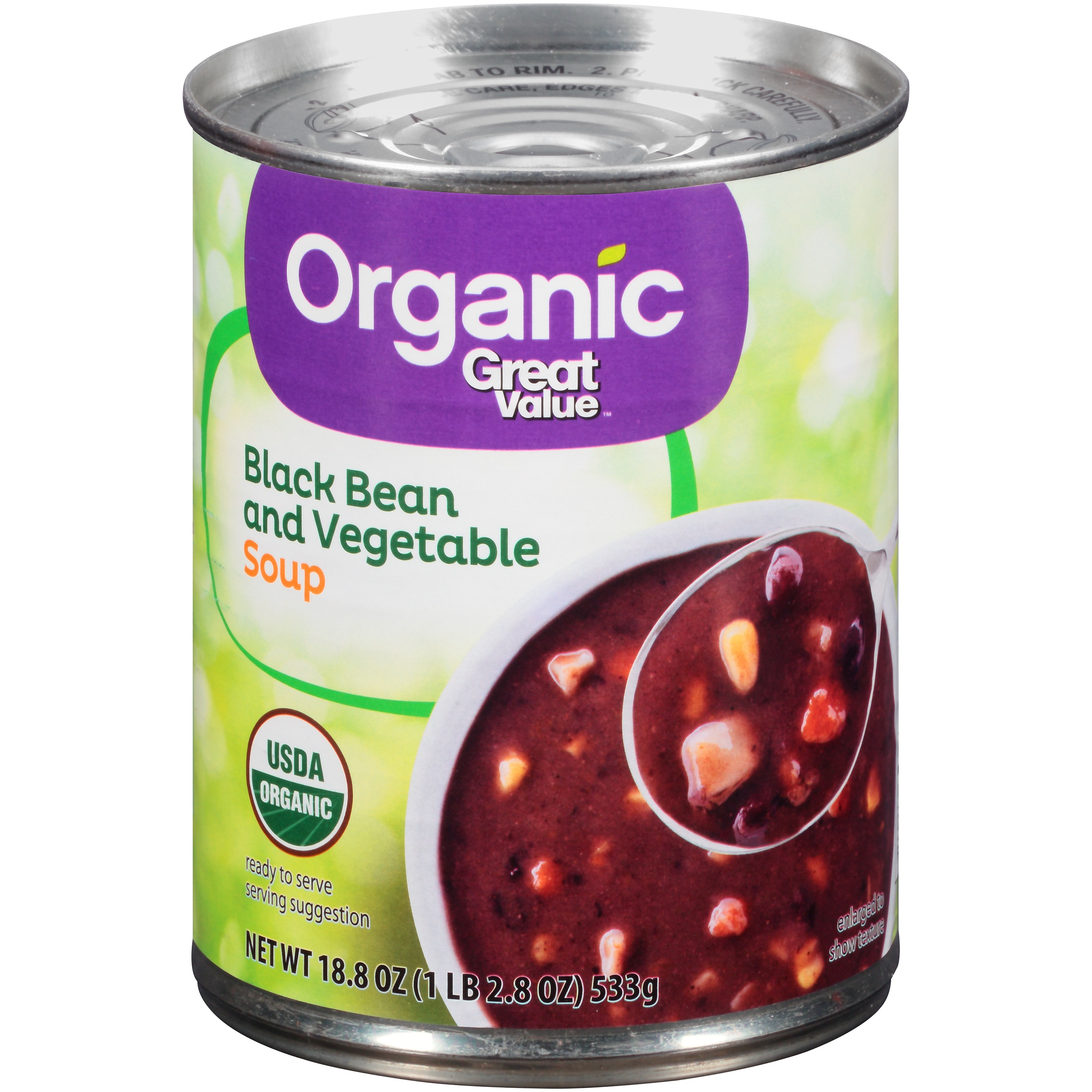 Great Value Organic Black Bean and Vegetable Soup, 18.8 Oz. by Great Value Organic