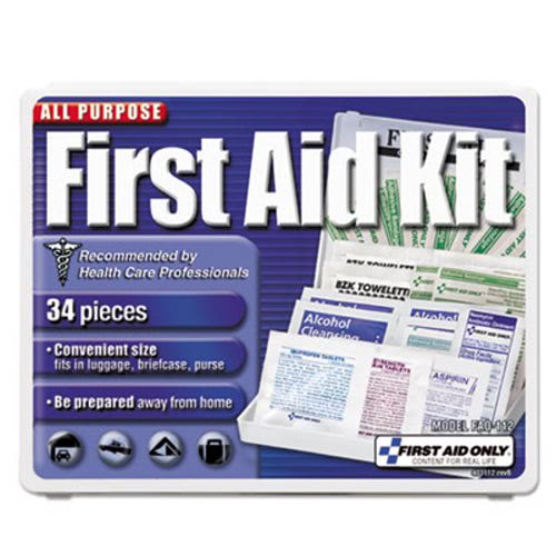 First Aid Only All-Purpose First Aid Kit, 34 Pieces, Blue/White (FAO112)