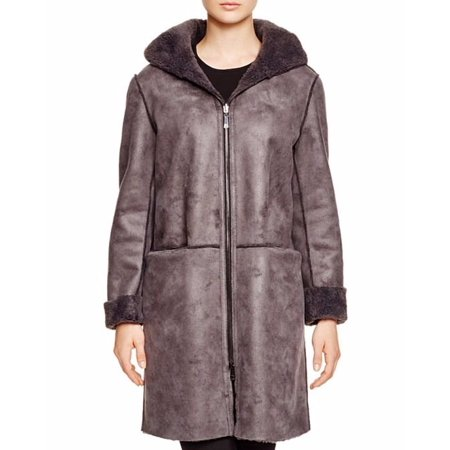 Dl2 By Dawn Levy Women's Teddy Gray Shearling Reversible Basic Hooded Coat