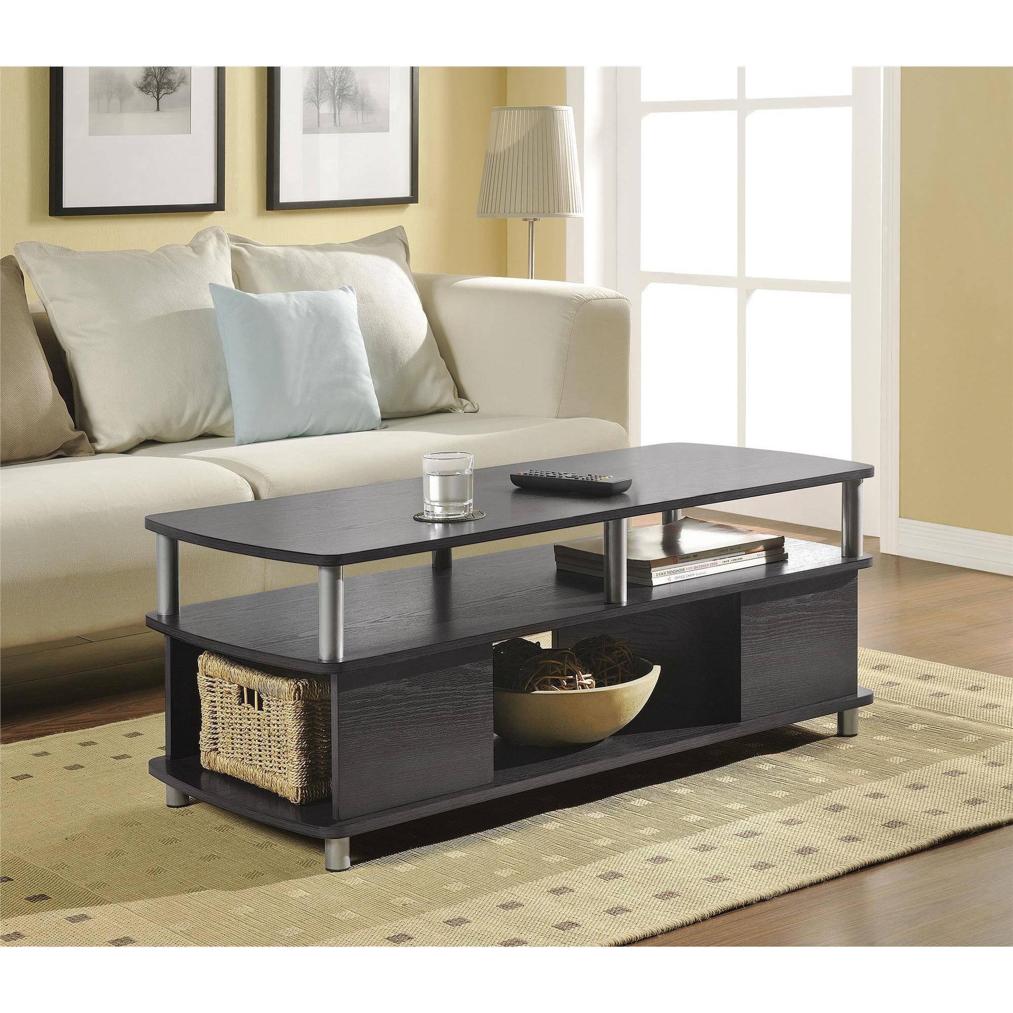Hodedah Glass Rectangle Coffee Table Black Walmart