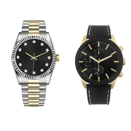 George Dress & Casual Analog Quartz Watch Set - Two-tone Silver with Gold and Black