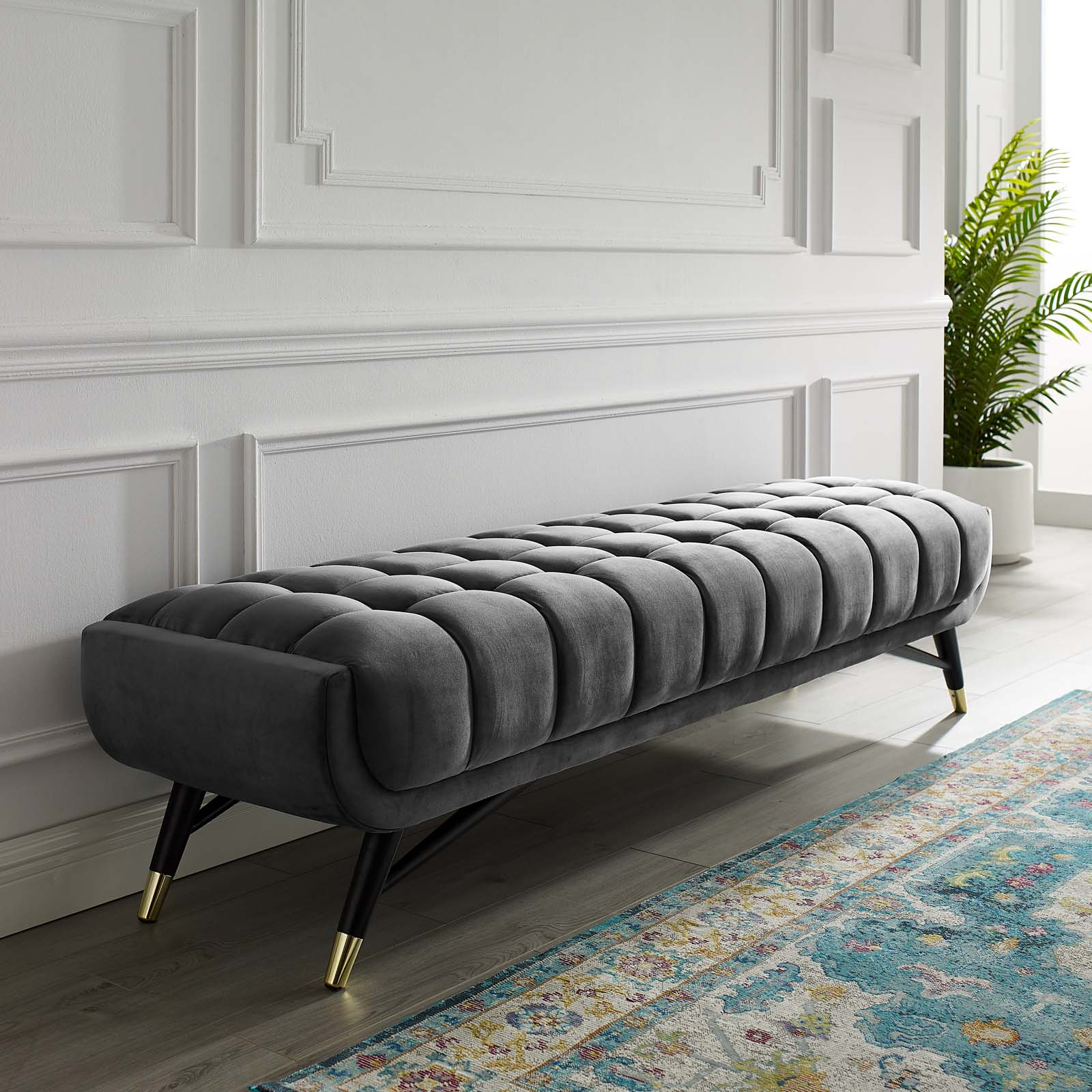 Modway Adept Velvet Upholstered Bench, Multiple Colors