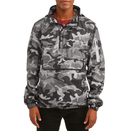 Feather Zip Front Jacket (Men's 1/4 Zip Lightweight Camo Print Front Pouch Jacket With Reflective Trim, Up To Size)