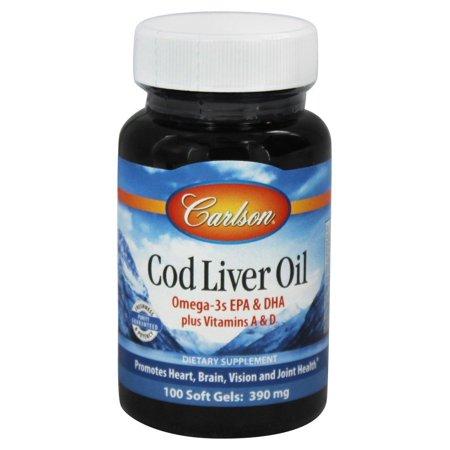 Carlson labs norwegian cod liver oil 390 mg 100 for Cod fish walmart