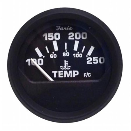 Faria Beede Instruments 12812 2 in. Euro Black Water Temperature Gauge, 100-250 Fahrenheit
