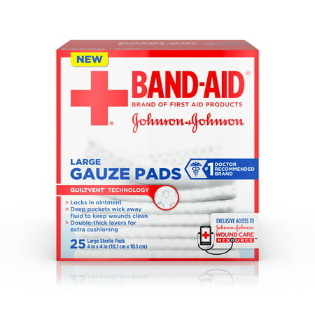 (2 pack) Band-Aid Brand Sterile Gauze Pads, Large, 4 in x 4 in, 25