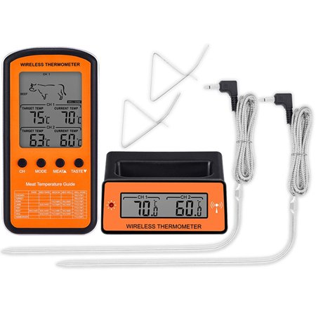 Wireless Remote Dual Probe Digital Cooking Meat Food Oven Thermometer for Grilling Smoker