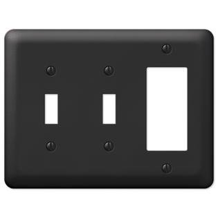 Black Metal Double Toggle Switch GFCI Rocker Wall Plate Cover