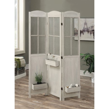 Coaster Company Three Panel Folding Screen Room Divider Antique White
