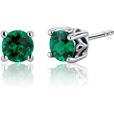 1.50 Carat Round-Cut Simulated Emerald Rhodium over Sterling Silver Stud Earrings