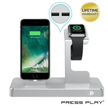 ONE Dock (APPLE CERTIFIED) Power Station Dock, Stand & Built-In Lightning Charger for Apple Watch Smart Watch (Series 1,2,3, Nike+), iPhone X/10/8/8 Plus/7/7Plus/6s/6s, iPad & iPod (Aluminum) Silver